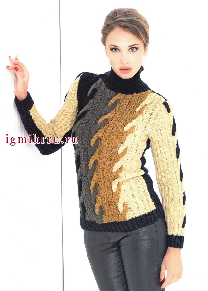 Эффектный четырехцветный пуловер с косами, от французских дизайнеров. Спицы
