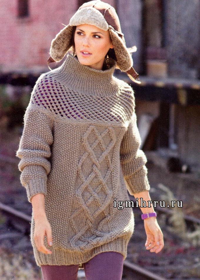 Теплый объемный пуловер с сетчатой кокеткой и мотивом из кос. Спицы