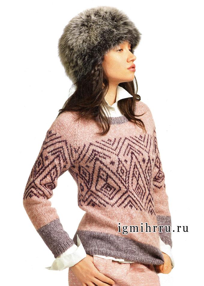 Тепло и комфортно! Мягкий розовый пуловер с жаккардовым узором, от французских дизайнеров. Спицы