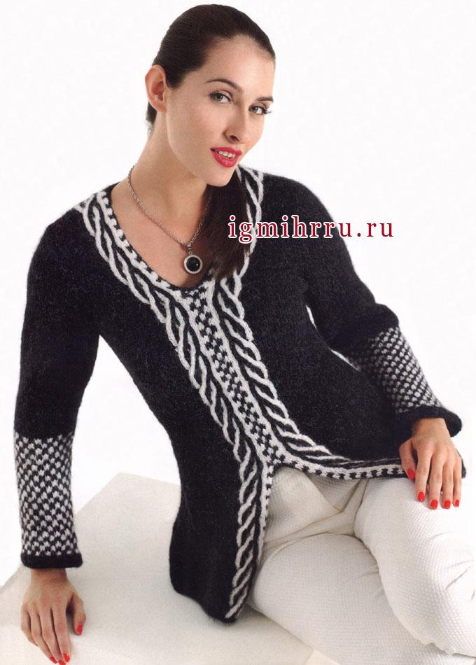 Элегантный черно-белый пуловер с двухцветной косой, от Verena. Спицы