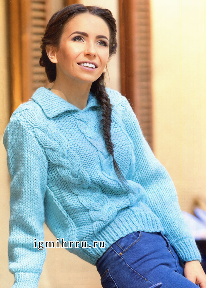 Бирюзовый шерстяной пуловер с косами и отложным воротником. Спицы