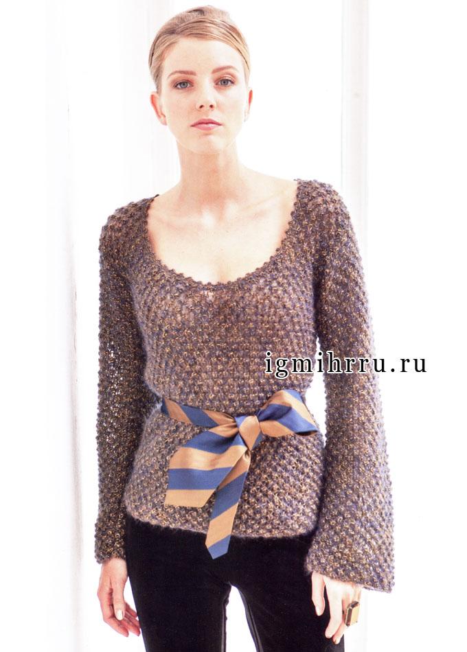 Меланжевый мохеровый пуловер с узором из шишечек. Спицы