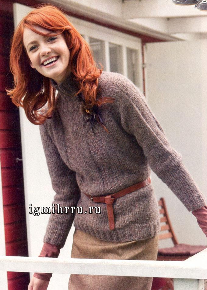 На каждый день. Теплый и комфортный серо-бежевый пуловер-реглан, от Lana Grossa. Спицы