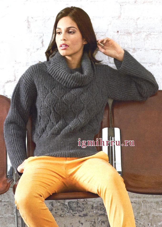 Кашемировый пуловер цвета антрацита с высоким воротником и красивым узором с листочками, от Lana Grossa. Спицы