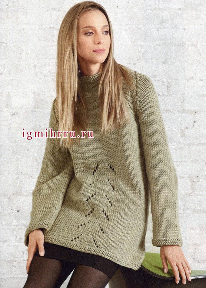 Длинный теплый пуловер-реглан камышового цвета, Lana Grossa. Спицы