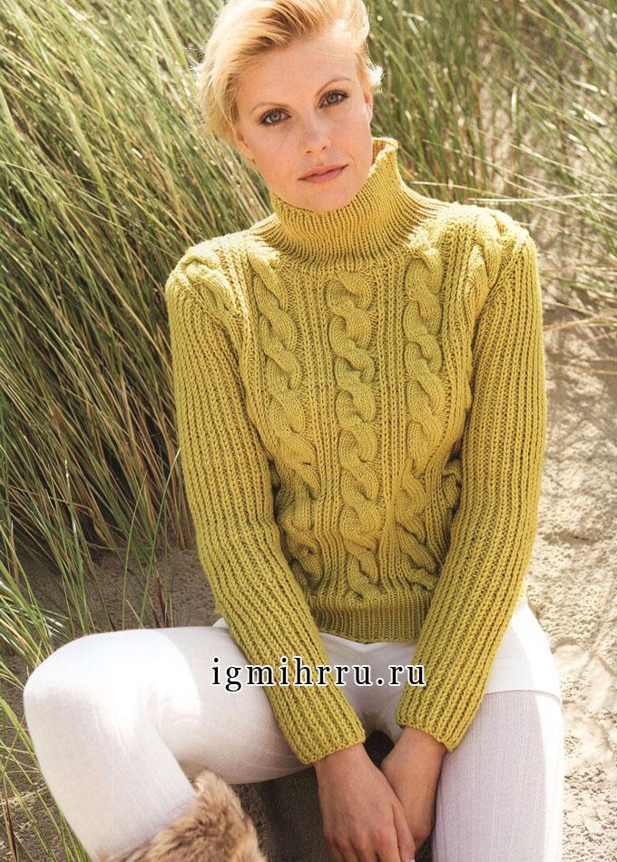 Шерстяной пуловер горчичного цвета с патентным узором и косами, от Lana Grossa. Спицы