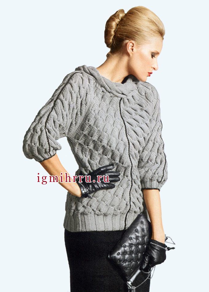французская элегантность серый пуловер с диагональными косами спицы