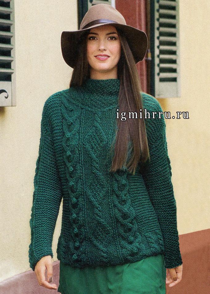 Узоры задают тон. Изумрудный пуловер с миксом красивых узоров. Спицы