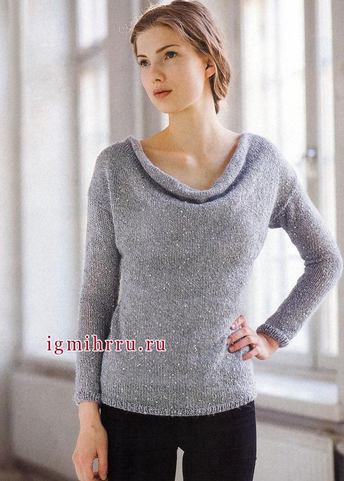 Просто и женственно! Светло-серый пуловер с пайетками, от финских дизайнеров. Спицы