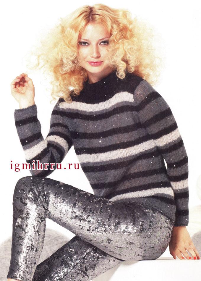 Нестареющая классика. Теплый полосатый пуловер в серо-черных тонах, с пайетками. Спицы