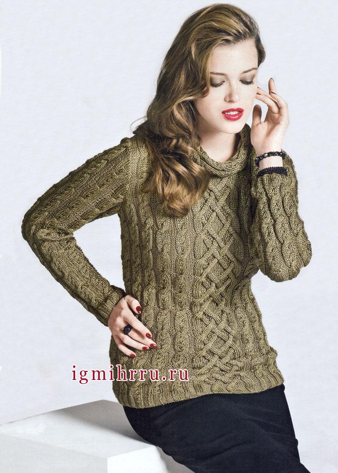 Пуловер с косами, из шелковой пряжи с золотистым оттенком, от французских дизайнеров. Спицы