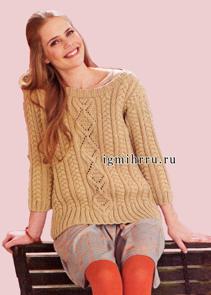 Красивые рельефные узоры всегда актуальны! Узорчатый пуловер цвета верблюжьей шерсти. Вязание спицами