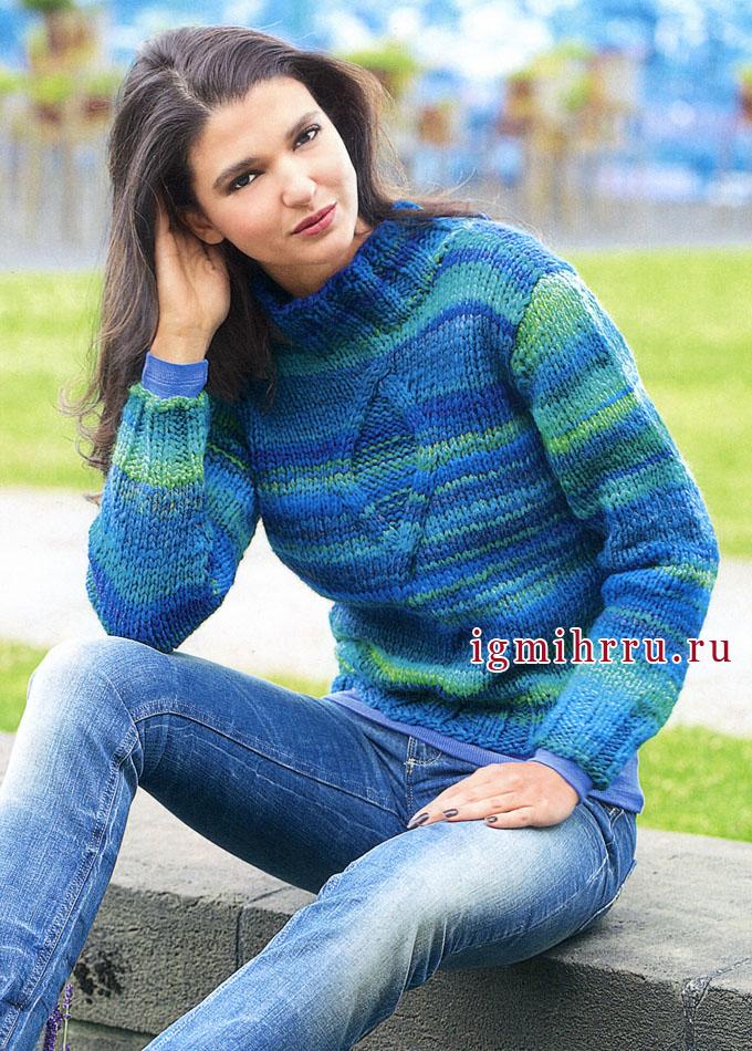 Бирюзовый меланжевый пуловер с ромбом, от Verena. Вязание спицами