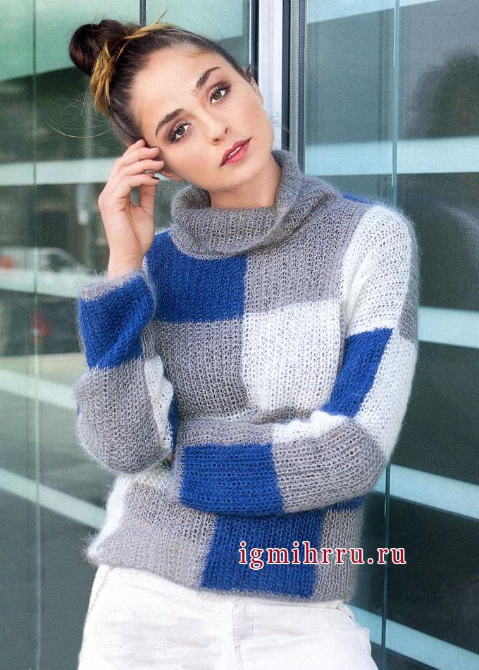 Мягкий мохеровый пуловер в клетку, от Verena. Вязание спицами