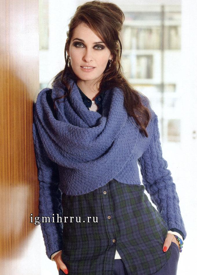 Сиреневый пуловер-болеро с великолепной драпировкой, от Verena. Вязание спицами