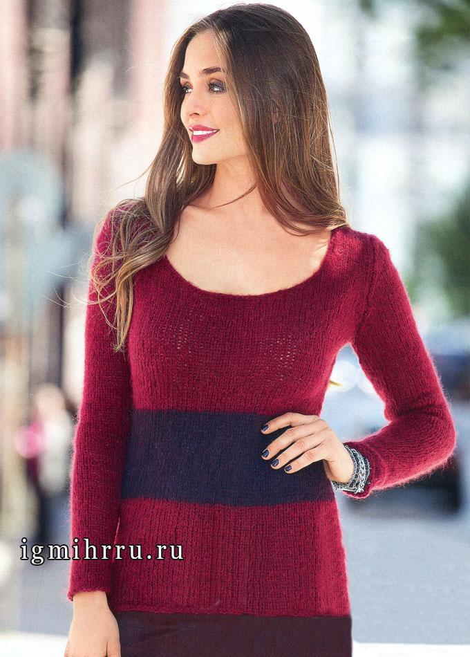 Мягкий бордовый пуловер с горизонтальной полосой, от Verena. Вязание спицами