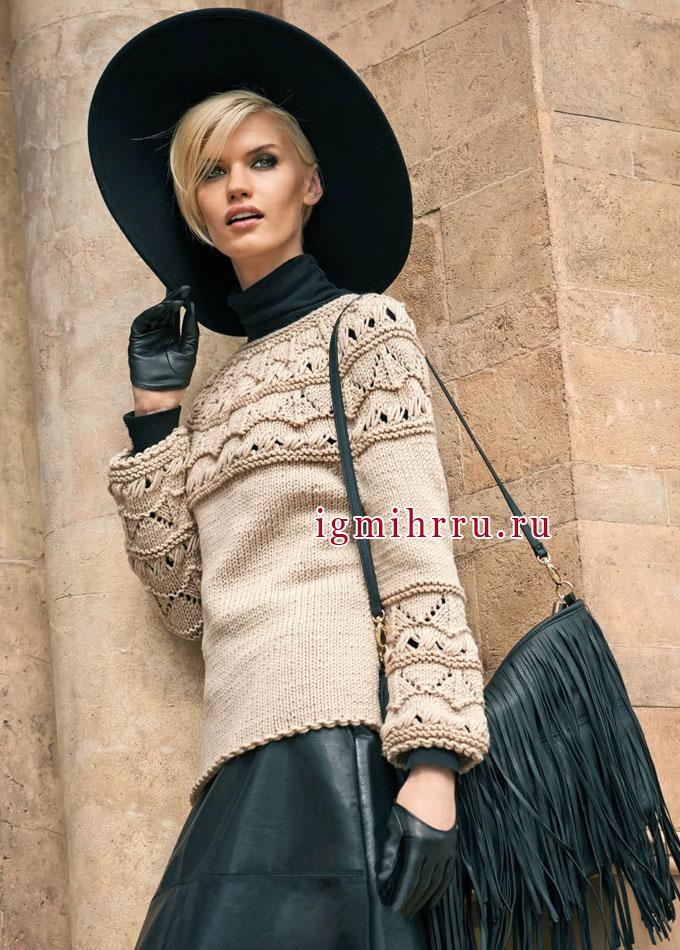 Бежевый шерстяной пуловер с круглой кокеткой. Вязание спицами