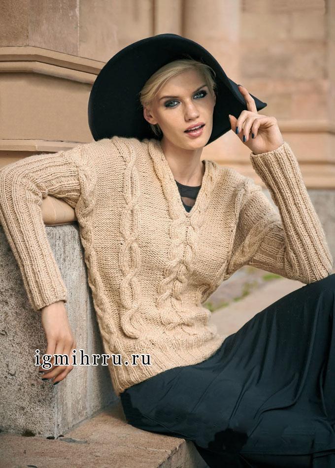 Бежевый пуловер с косами и рукавами в резинку. Вязание спицами