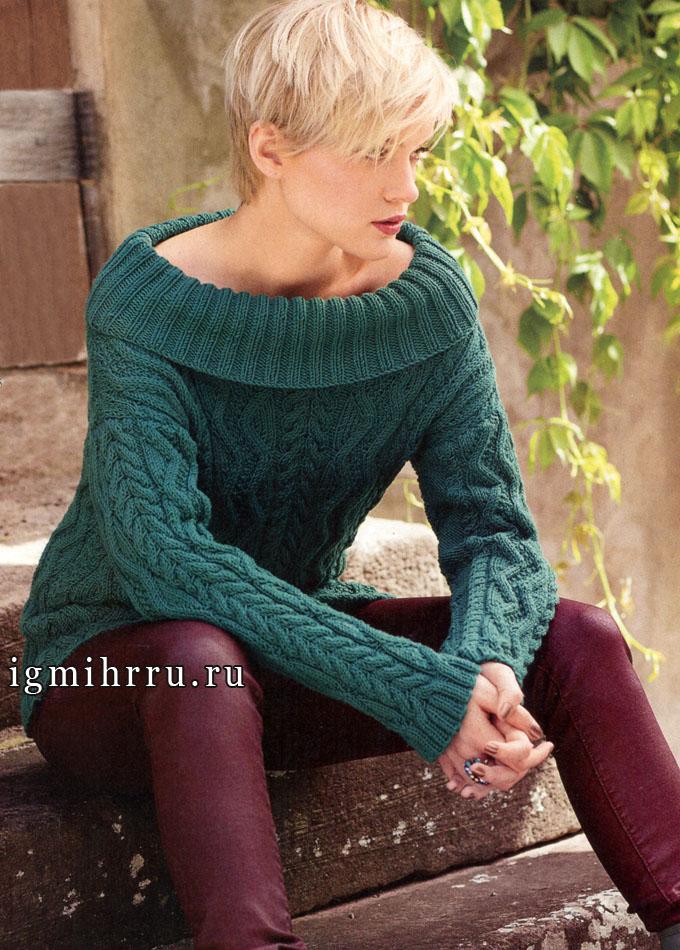 Шерстяной зеленый пуловер из кос и зигзагов. Вязание спицами