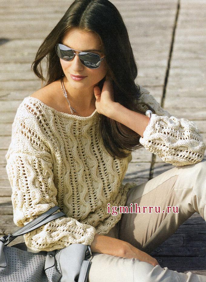 Бежевый пуловер из ажурного узора с косами. Вязание спицами