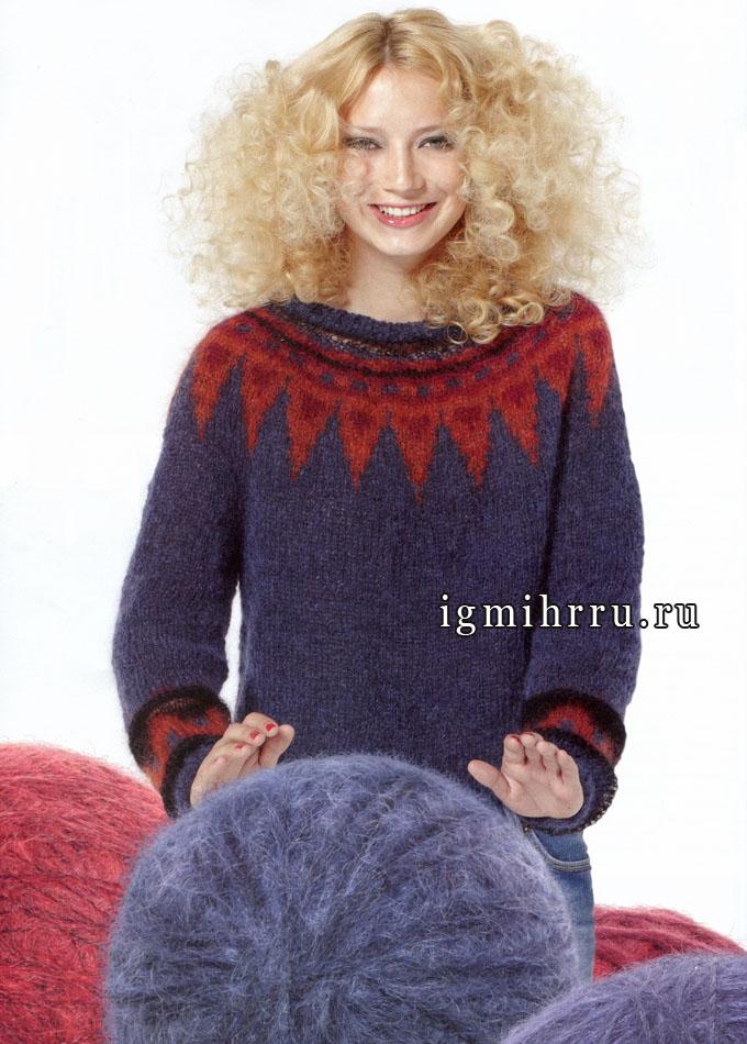 Теплый пуловер женский