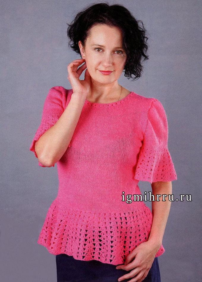 Нарядный ярко-розовый пуловер с ажурной каймой. Вязание спицами и крючком