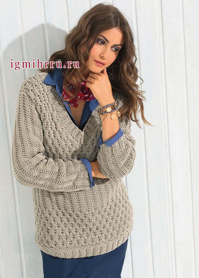 Пуловер песочного цвета с рельефными узорами. Вязание спицами