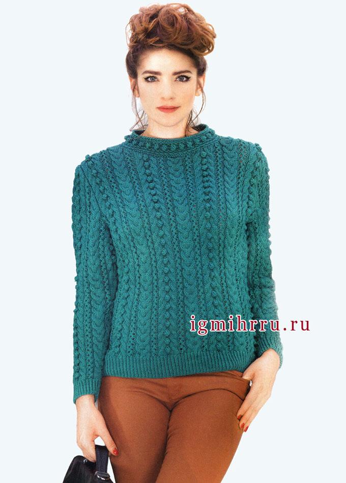 Эффектный бирюзовый пуловер с фантазийными узорами, от французских дизайнеров. Вязание спицами