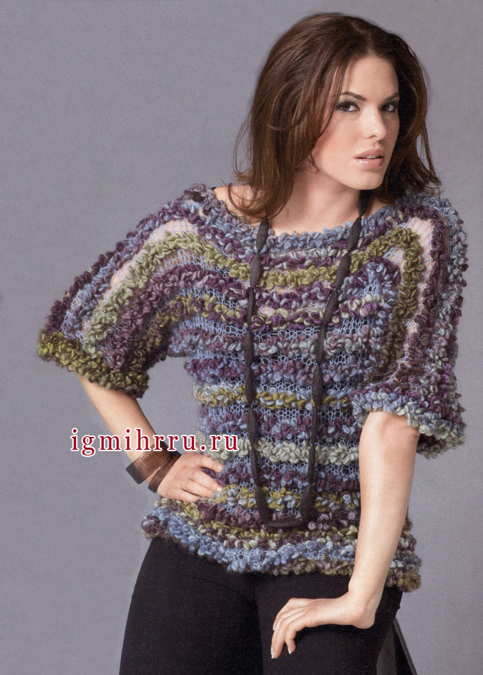 Меланжевый пуловер из разных видов пряжи, связанный одним полотном. Вязание спицами