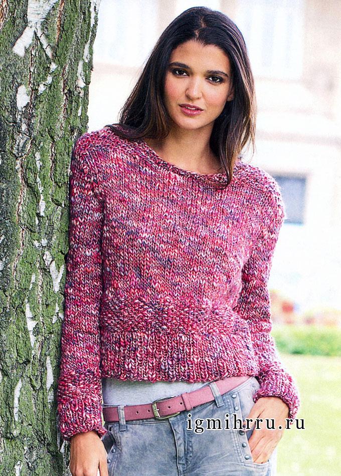 На каждый день. Простой шерстяной пуловер розового цвета, от Verena. Вязание спицами