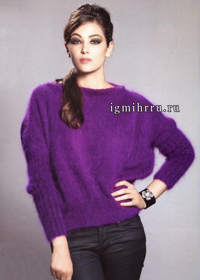 Французский шарм! Яркий фиолетовый пуловер из ангоры, от дизайнеров фирмы Аnnу Blatt. Вязание спицами