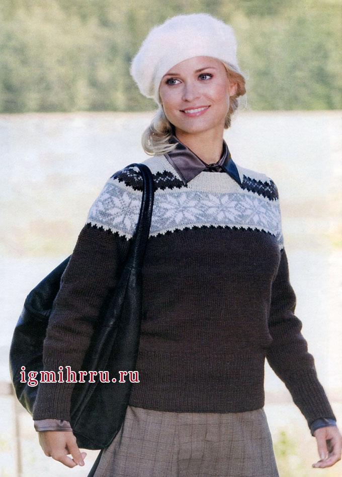 Теплый пуловер с кокеткой из норвежских звезд, от финских дизайнеров. Вязание спицами