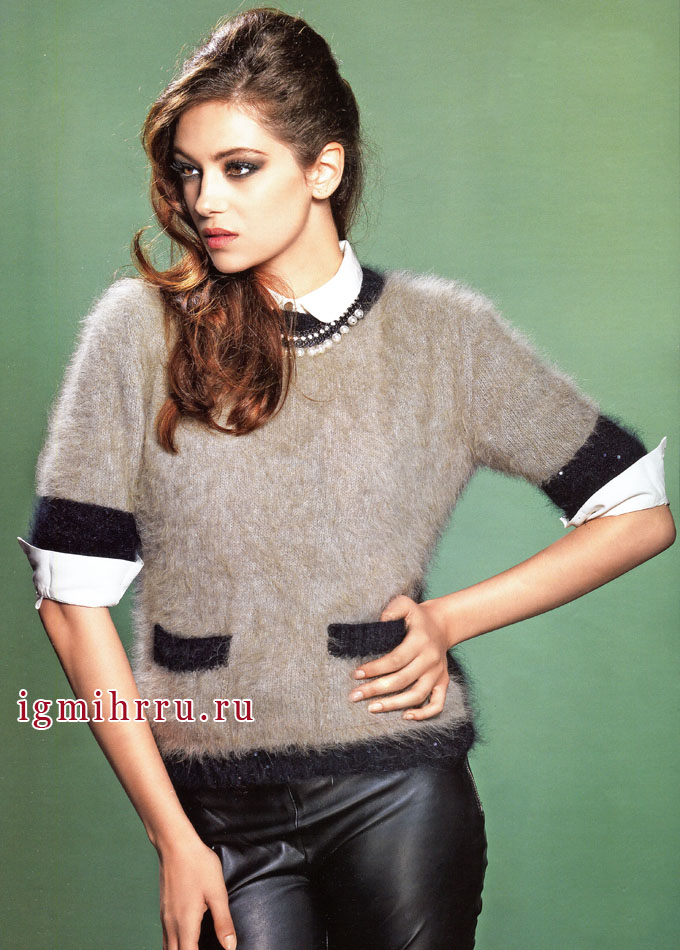 Серый пуловер из ангоры с черной отделкой, от французских дизайнеров. Вязание спицами