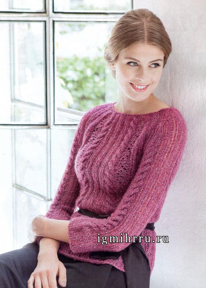 Нежный розовый пуловер с ажурным узором и косами. Вязание спицами