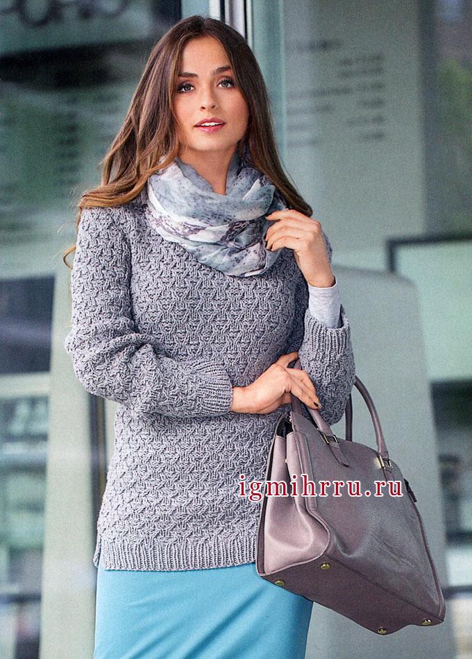 Элегантный светло-серый пуловер с фантазийным узором, от Verena. Вязание спицами