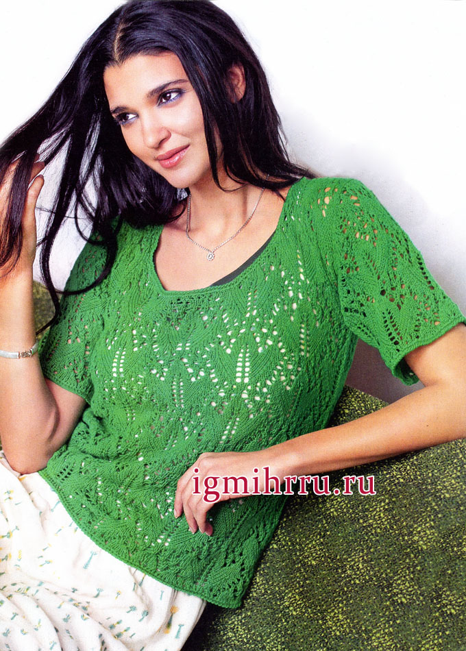 Воздушная легкость. Зеленый ажурный пуловер с короткими рукавами. Вязание спицами