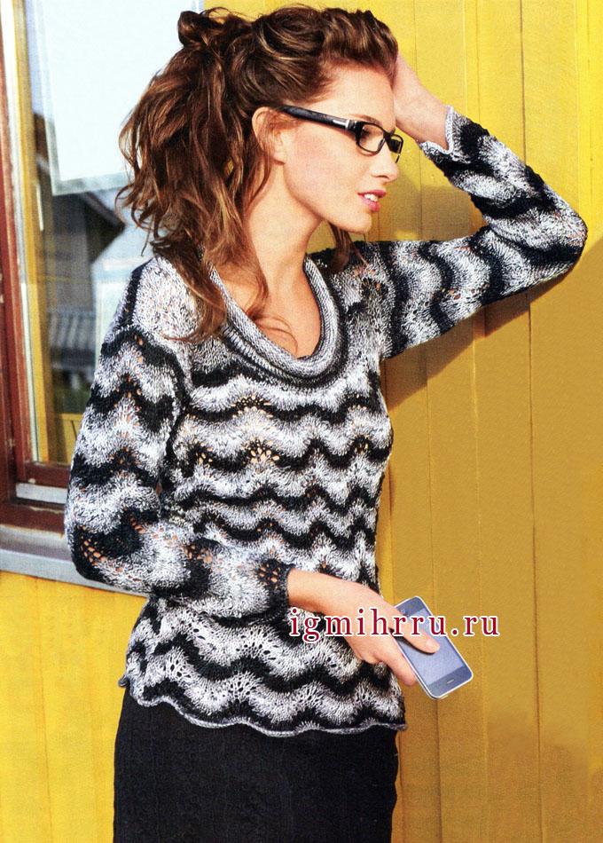 Женственный и романтичный пуловер с волнистым узором