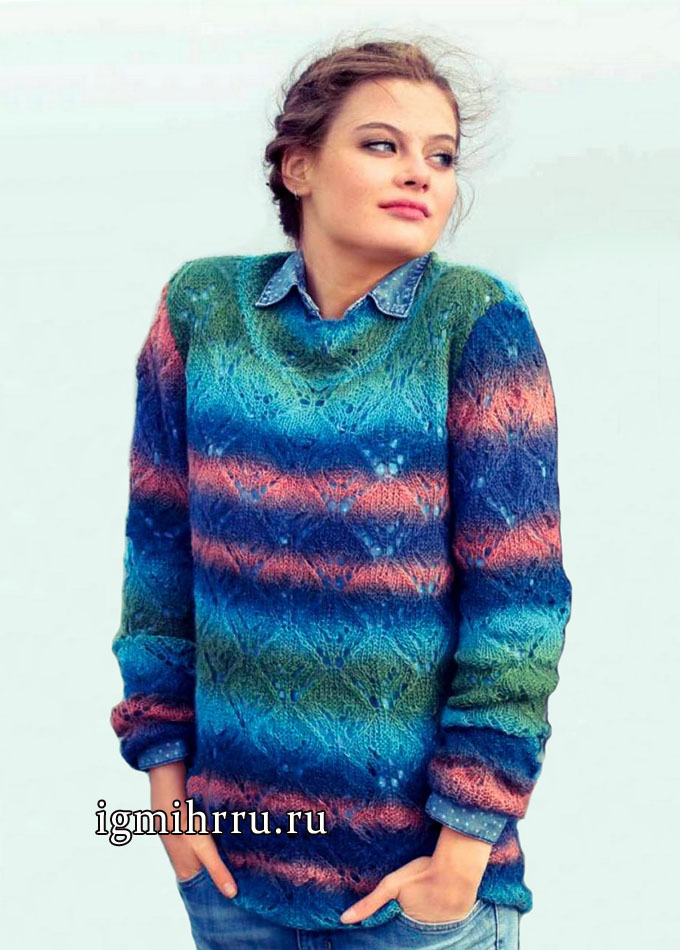 Теплый разноцветный пуловер с ромбами. Вязание спицами