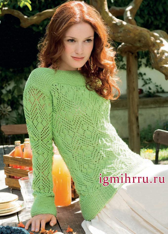 Ажурный пуловер нежного зеленого оттенка. Вязание спицами