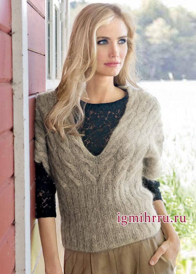 Для ранней весны. Бежевый мохеровый пуловер с косами, от Lana Grossa. Вязание спицами
