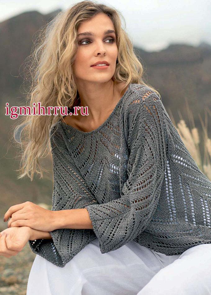 Серый пуловер с ажурными зубчиками. Вязание спицами