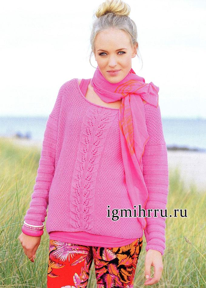 Кашемировый розовый пуловер с узором из листьев. Вязание спицами