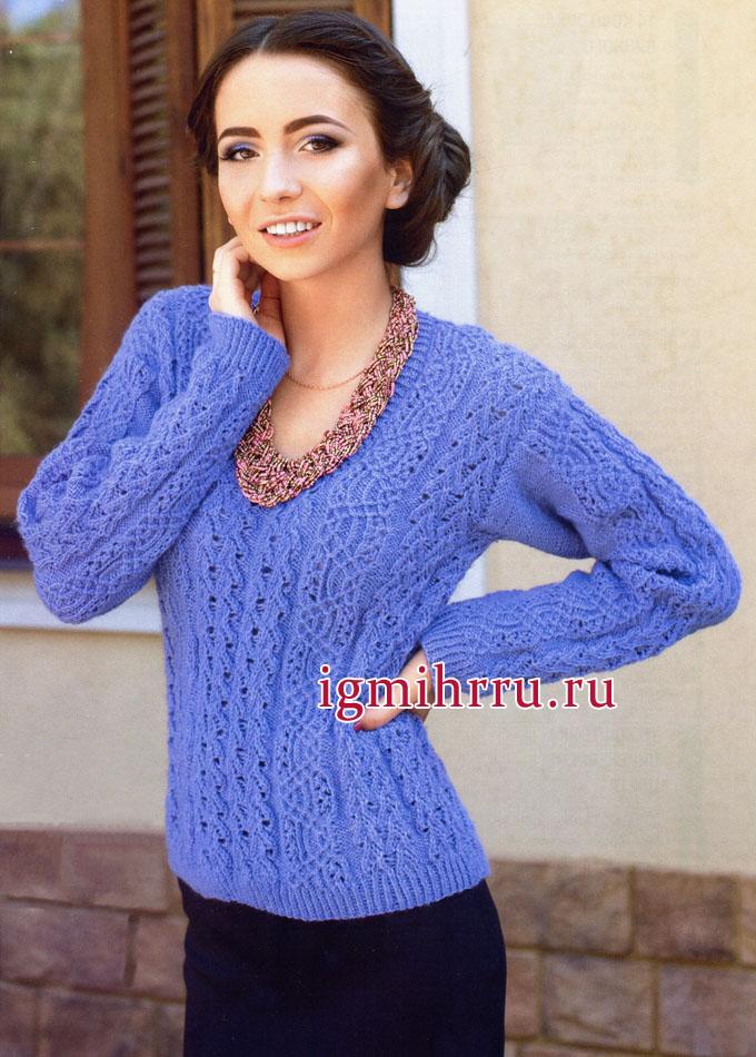 Сиреневый пуловер с филигранными ажурными узорами. Вязание спицами