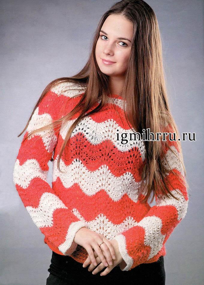 Ажурный пуловер в красно-белую полоску. Вязание спицами