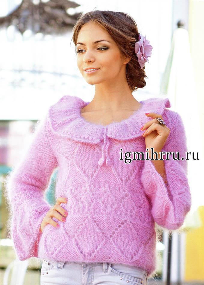 Нежная и очень женственная розовая кофточка с узорами из ромбов. Вязание спицами