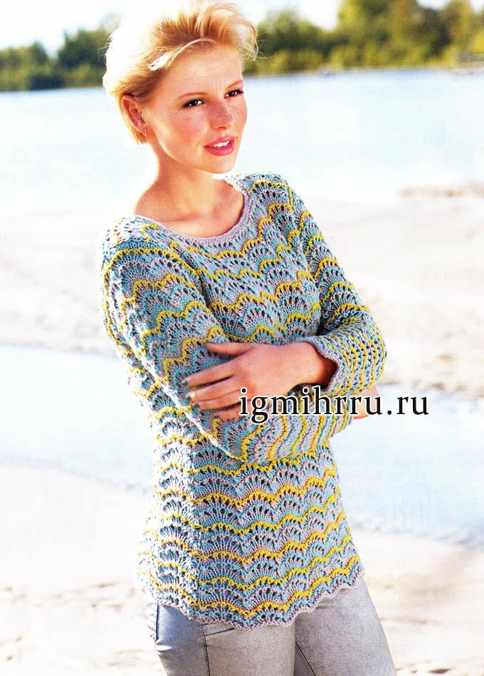 Полосатый пуловер из хлопка, с волнистым узором. Вязание спицами