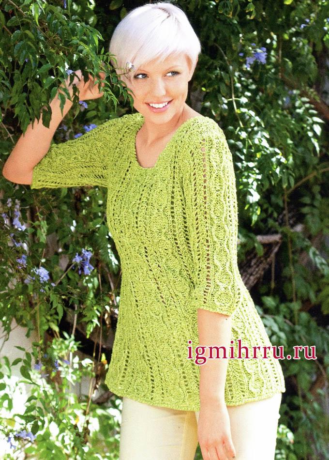 Светло-зеленый ажурный пуловер из шелковой пряжи. Вязание спицами