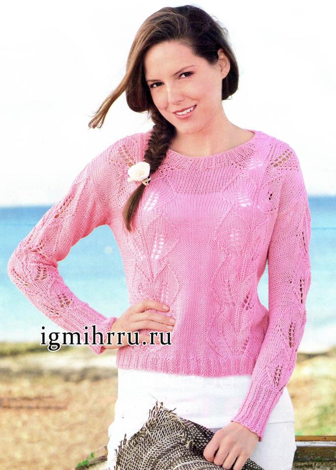 Нежно и романтично! Розовый пуловер с узором листья. Вязание спицами