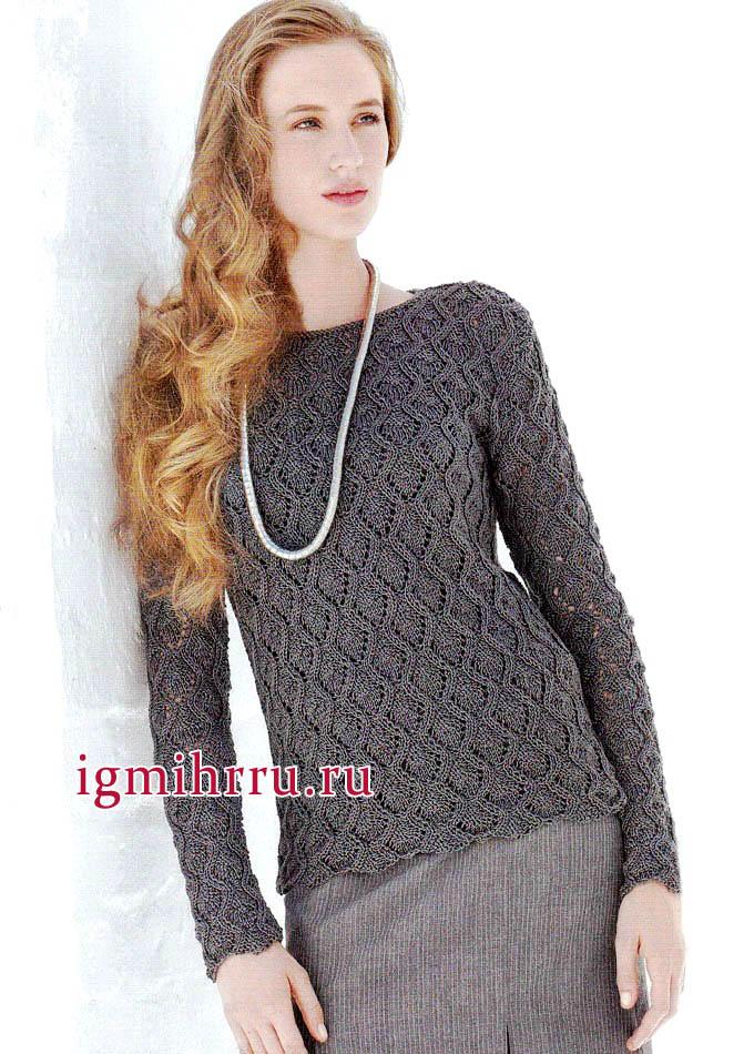 Весенний темно-серый ажурный пуловер из х/б пряжи, от Lana Grossa. Вязание спицами