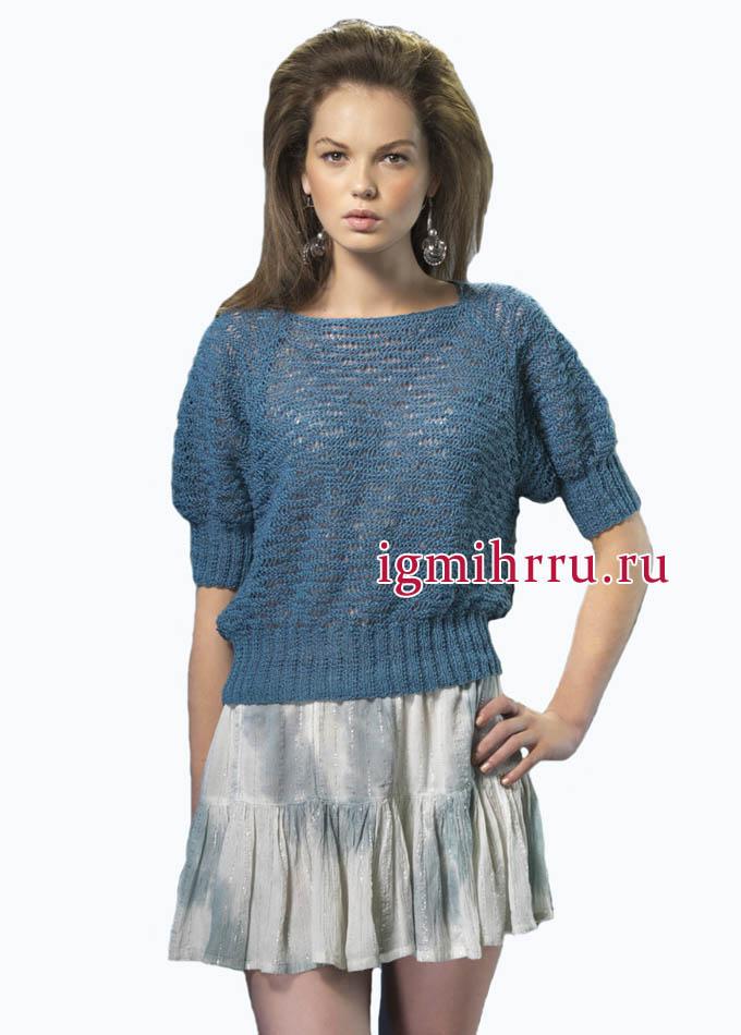 Темно-бирюзовый пуловер из французского льна, с фантазийным узором. Вязание спицами